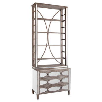 Reina 2-Door Mirrored Hutch, Cabinets & Hutches