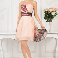 Floral Printed Strapless Chiffon Homecoming Dress