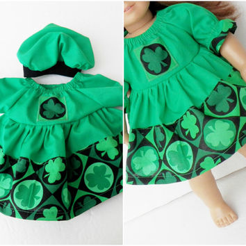 """18"""" & Bitty Baby Clothes Handmade for Twin Girl,  Baby Doll 15"""" Green Black Shamrock St. Patrick's Day Peasant dress, hat- 2 pc outfit Irish"""
