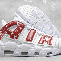 [ Free  Shipping ] Nike Air More Uptempo x LV Superme Basketball Sneaker