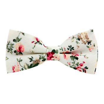 New Classic Floral Pattern Bow Tie For Men Print Cotton Black Bowtie British Style Business Fashion Bowtie Wedding Party Gravata