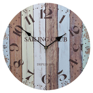 Hang Wall Clock Wooden Sildent Quartz  anchor C