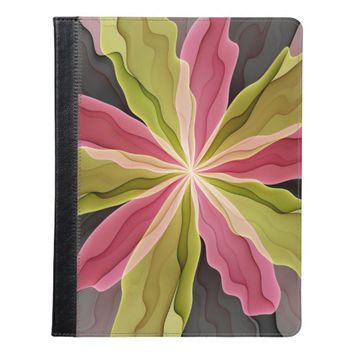 Joy, Pink Green Anthracite Fantasy Flower Fractal iPad Case