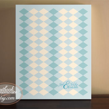 Harlequin Guestbook- 155 Guests - 16x20 print - Argle Guest Book - Vintage Guest Book - Guest book print or Canvas