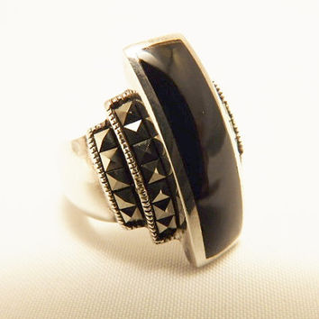 Size 6 Sterling Silver Black Onyx and Hematite Art Deco Style Ring