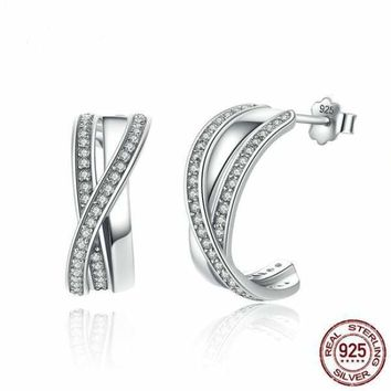 Genuine 100% 925 Sterling Silver Entwined with Clear CZ Stud Earrings
