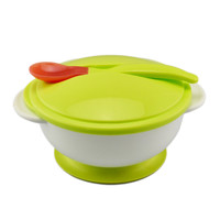 Baby Kids Sucker Bowl Spoon Set Toddler Baby Feeding Eating Food Non-slip Two-handed Sucker Bowl + Spoon
