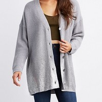 Metallic Foiled Hem V-Neck Cardigan | Charlotte Russe