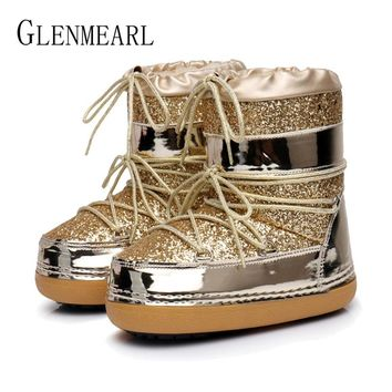 Snow Boots Winter Ankle Boots Women Shoes Fur Warm Boots Female Plus Size Casual Shoes Platform Non Slip Gold Bling Lack Up DE
