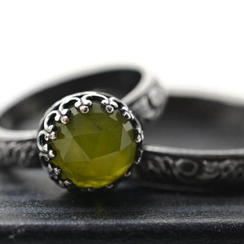 Forest Gemstone Ring, Vesuvianite Ring, Natural Jewel Bridal Set, Womens Wedding Ring, Oxidized Silver, Engagement Ring, Womens Wedding Band