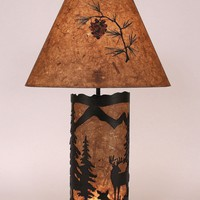 "Small 32"" H Deer Scene Panel Night Table Lamp"