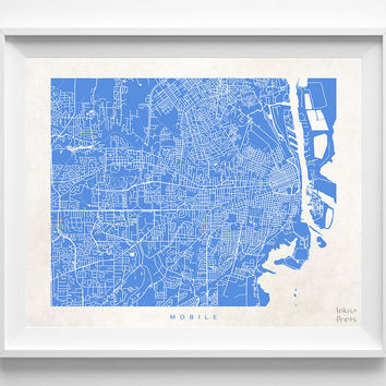 Alabama, Mobile, Print, Map, AL, Poster, State, City, Street Map, Dorm, Art, Decor, Town, Illustration, Room, Wall Art, Customize