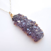 Raw Amethyst Druzy Necklace : Rare Rose Tip Vertical Style