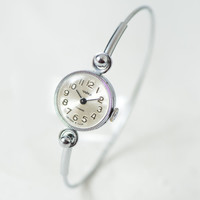 Cocktail watch bracelet for women Seagull, small round women's watch, tiny delicate wristwatch her, silver shade tiny watch, petite watch
