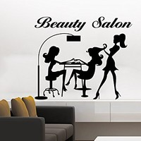 Wall Decal Beauty Salon Vinyl Sticker Decals Manicure Make Up Girl Elegant Woman Fashion Cosmetic Hairdressing Hair Interior Design NS1041