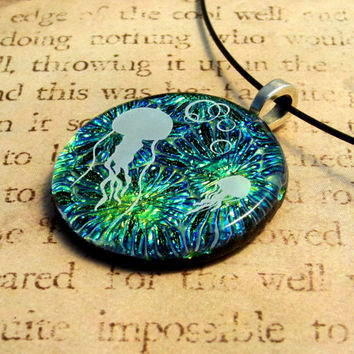 Jellyfish Fused Glass Pendant Necklace Jewelry Handcrafted Yellow Blue Green Fusion