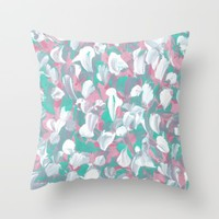 Tropical Petals Throw Pillow by Kat Mun