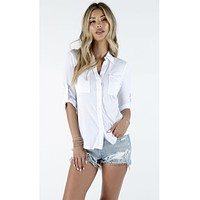 3/4 Sleeve Ultra Jersey Button Down White
