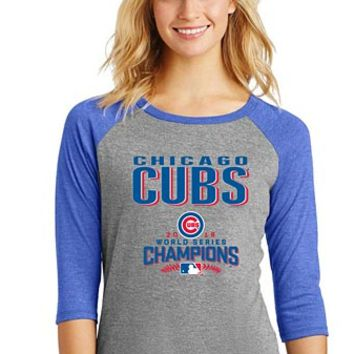 Chicago Cubs Ladies 2016 World Series Champions Tri-Blend Raglan T-Shirt
