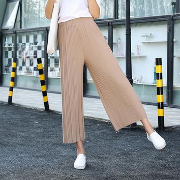 OtherLinks Pleated Flare Chiffon High Waist Wide Leg Pants Women Slacks Casual Pants Lady Black Summer Trousers 2017 New Pants