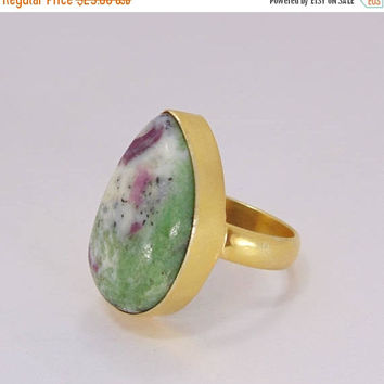20% Off Mothers Day Sale Handmade Brass Ring - Zoisite Ring - Gemstone Ring - Statement Ring - Gold Plated Ring - Pear Shape Ring - Cabochon