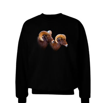 TooLoud Two Majestic Bighorn Rams Adult Dark Sweatshirt