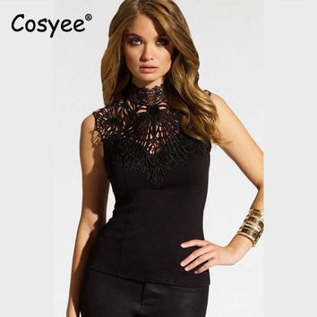 Cosyee Women's New Fashion Tops Lace Hollow Out Patched Turtleneck Backless Hipster Slim Sexy Sleeveless Shirt Female Top Tees