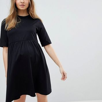 ASOS MATERNITY Mini Ultimate Cotton Smock Dress at asos.com