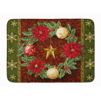 Holly Wreath with Christmas Ornaments Machine Washable Memory Foam Mat PTW2007RUG