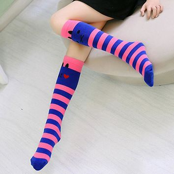 1 Pair Lovely Kids Girls Multi-Color Striped Cartoon Long Cotton Autumn Winter Warm Knee High Christmas Gift Socks