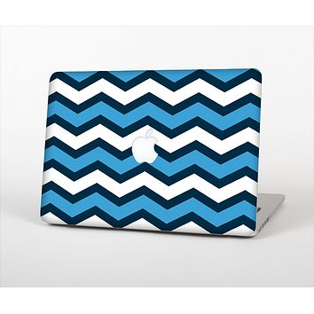 The Blue Wide Chevron Pattern Skin Set for the Apple MacBook Air 13""