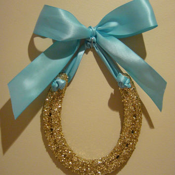 gold glitter horseshoe w tiffany blue Satin Ribbon-Custom Gift Tag-wedding horseshoe, horseshoe art, horseshoe, horseshoe wedding