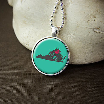 Virginia State Necklace, Love Virginia Pendant, US VA State Pendant Necklace Jewelry