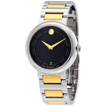 Movado Concerto Black Dial Two-Tone Stainless Steel Bracelet Mens Watch 0606588