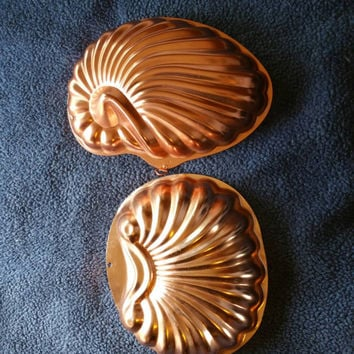 Two, 6 cup, vintage copper jello molds, sea shells