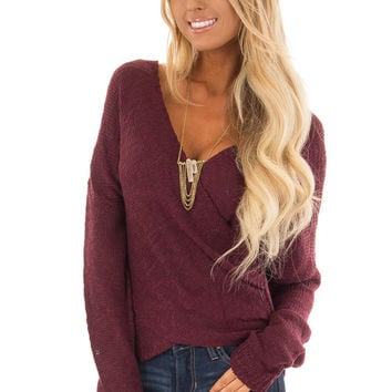 Wine Long Sleeve Knit Sweater with Draped Crossed Front