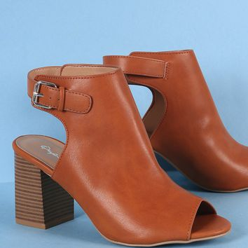 Qupid Peep Toe Stacked Chunky Heeled Ankle Boots