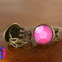 Steven Universe Pink Gem Womens Girls Adjustable Ring Rings Jewelry Gift