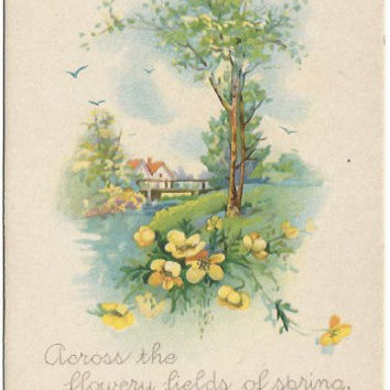 Antique Postcard Easter Wishes Beautiful Spring Country Cottage Scene 1920 Skecher Publishing