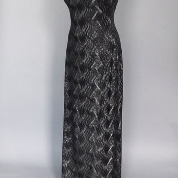 Vintage 90's Black Silver Sheath Dress Sparkly Glitter Glam Maxi Metallic Gown Prom Pageant Dress Size Small Punk Hipster Glam Grunge Gothic