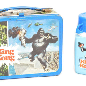Vintage 70s King Kong Dino De Laurentiis Metal Thermos Collectible Lunch Box with Thermos