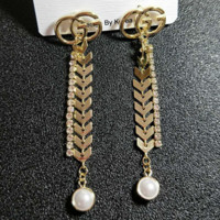 GUCCI New Fashion Pearl More Diamond Round Long Section Earrings Accessories Women Golden