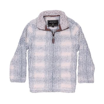CHILD'S Big Plaid Frosty Tip 1/4 Zip Pullover in Blue by True Grit