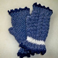 Blue Sparkle Fingerless Gloves, Hand Knit, White Stripe, Cable Accent.