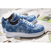 Supreme x Louis Vuitton Nike Air Force 1 men and women tide brand fashion running shoes F