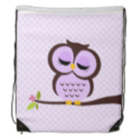 Cute Purple Owl Cinch Bag