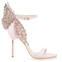 brand same design 2016 New women 10cm high heels sexy sandals rhinestone stereoscopic butterfly party shoes woman summer shose