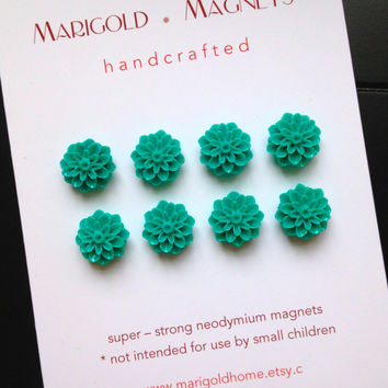 mini magnets, set of 8, teal blue flowers, small strong magnets, magnet board, girl's room, dorm decor, hostess gift, office, bulletin board