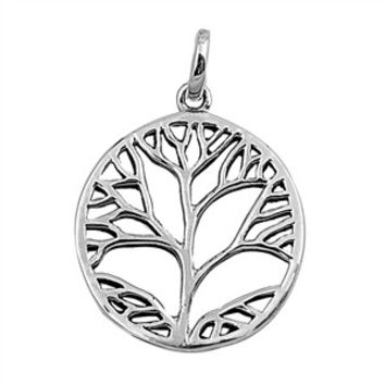 "Sterling Silver Tree of Life Wiccan Pendant 23MM (Free 18"" Chain)"
