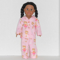 American Girl Doll Pink Flannel Pajamas with Ballerina Monkeys